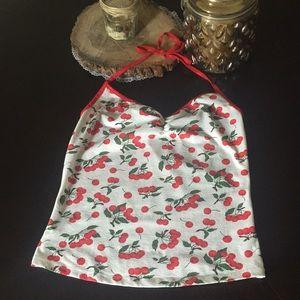 Stretchy cherry halter top